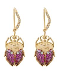 Aurelie Bidermann | Metallic Scarab Drop Earrings | Lyst