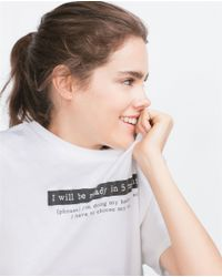 Zara | Black Text T-shirt | Lyst