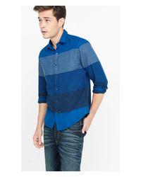 Express | Blue Flannel Mixed Stripe Shirt for Men | Lyst