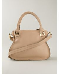 Chlo¨¦ Marcie Leather Tote in Beige (nude \u0026amp; neutrals) | Lyst