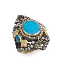 Armenta | Blue Old World Midnight Diamond, Opal & Sapphire Ring | Lyst