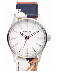 Nixon - Metallic 'Sentry' Print Leather Strap Watch - Lyst