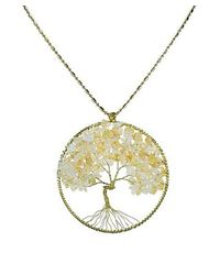 Aeravida | Metallic Yellow Citrine Stone Eternal Tree Of Life Brass Long Necklace | Lyst