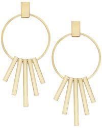 c.A.K.e. By Ali Khan - Metallic Gold-tone Decorative Drop Hoop Earrings - Lyst