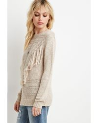 Forever 21 | Natural Tassel-front Sweater | Lyst