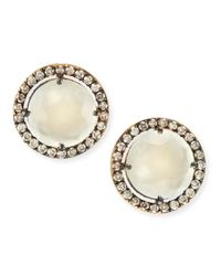 Suzanne Kalan - Metallic 14K Yellow Gold White Moonstone & Champagne Diamond Stud Earrings - Lyst