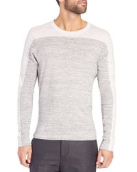 Vince - Gray Sporty Jaspe Blocked Crewneck for Men - Lyst