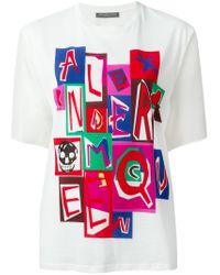 Alexander McQueen   White Logo Print T-shirt   Lyst