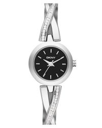 DKNY - Black 'crosswalk' Crystal Accent Bangle Watch - Lyst