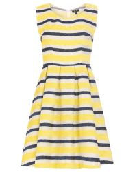 Cutie | Yellow Textured Stripe Dress | Lyst