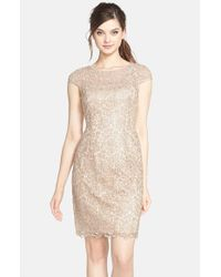 Adrianna Papell | Natural Lace Shift Dress | Lyst