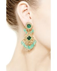 Kirat Young | Green Emerald Indian Earrings in Gold | Lyst