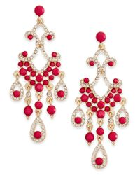 INC International Concepts - Pink Gold-tone Crystal Fuchsia Large Chandelier Earrings - Lyst