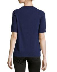 Michael Kors - Blue Short-Sleeve High-Low Top - Lyst
