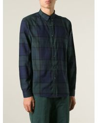 AMI - Green Plaid Pattern Shirt for Men - Lyst