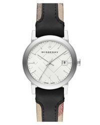 Burberry - Black Check Stamped Watch - Lyst