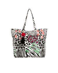 River Island - Black Beaded Zebra Print Beach Tote Bag - Lyst