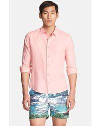 Orlebar Brown - Pink 'malone' Trim Fit Linen Shirt for Men - Lyst