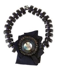 Donna Karan | Black Beaded Brooch Necklace | Lyst