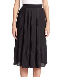 TOME - Black Pleated Satin Skirt - Lyst