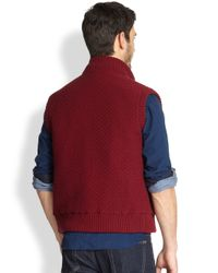 Canali Red Reversible Knit Vest for men