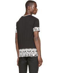 Versus - Black Printed Border T-shirt for Men - Lyst