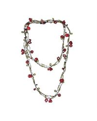 Aeravida - Multicolor Handmade X-long Triple Strands Red Coral Brass Necklace - Lyst