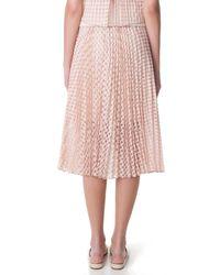 Tibi - Pink Windowpane Jacquard Sunray Pleated Skirt - Lyst