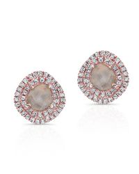 Anne Sisteron | Pink 14kt Rose Gold Diamond Slice Double Halo Stud Earrings | Lyst
