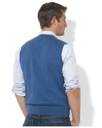 Polo Ralph Lauren - Blue Pima-Cotton V-Neck Vest for Men - Lyst