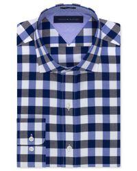 Tommy Hilfiger - Easy Care Slim-fit Blue And Black Large Check Dress Shirt for Men - Lyst