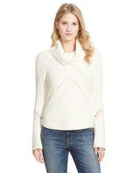 Halogen - White Turtleneck Sweater With Open Stitch Detail - Lyst