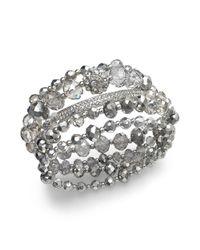 INC International Concepts - Metallic Silvertone Bead Stretch Bracelet - Lyst
