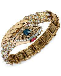 Betsey Johnson - Metallic Goldtone Crystal Snake Wrap Stretch Bracelet - Lyst