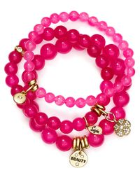 Sequin - Pink Beauty Flower Bracelets, Set Of 3 - Lyst