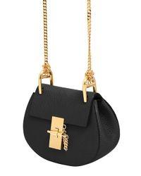 Chloé | Black Nano Drew Grained Nappa Leather Bag | Lyst
