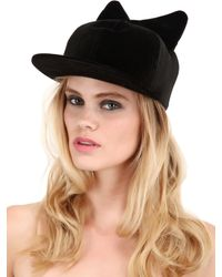 Federica Moretti - Black Frida Bow Cotton Velvet Baseball Hat for Men - Lyst
