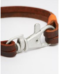 ASOS - Brown Leather Bracelet With Lobster Clip Fastening for Men - Lyst