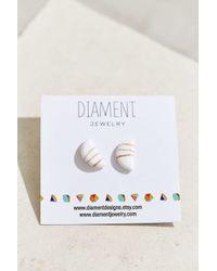 Urban Renewal - White Diament Jewelry X Half Circle Stud Earring - Lyst