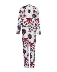 MSGM - Blue Mechanic Flower Print Jumpsuit - Lyst
