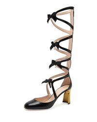 Gucci   Black Pebbles Lace-up Gladiator Boot   Lyst