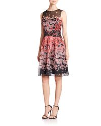 Teri Jon - Multicolor Floral Silk Chiffon Dress - Lyst