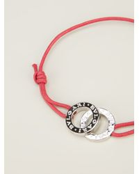 BVLGARI - Red Slim Logo Bracelet - Lyst