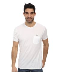 Lacoste | White Jersey Super Fine Pima Short Sleeve Crew Neck Tee Shirt With Pocket | Lyst