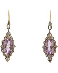 Cathy Waterman - Purple Women's Diamond, Amethyst & Gold Drop Earrings - Lyst