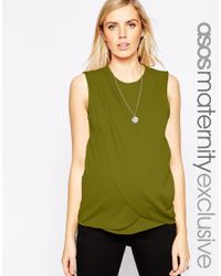 ASOS | Natural Nursing Top With Wrap Overlay In Texture | Lyst