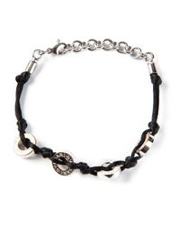 BVLGARI - Black Cord and Logo Disc Bracelet - Lyst