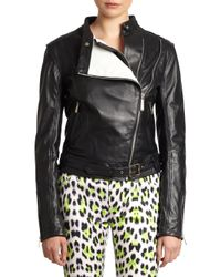 Just Cavalli | Black Cropped Leather Moto Jacket | Lyst
