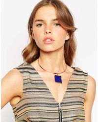 ASOS - Blue Clean Stone Torque Necklace - Lyst