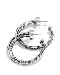 David Yurman - Metallic Crossover Medium Hoop Earrings With Diamonds - Lyst